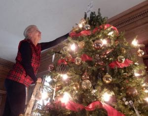 Kathleen Kane of the Dix Hills Garden Club places an ornament high on the large tree in the Vanderbilt Library. Vanderbilt Museum photos