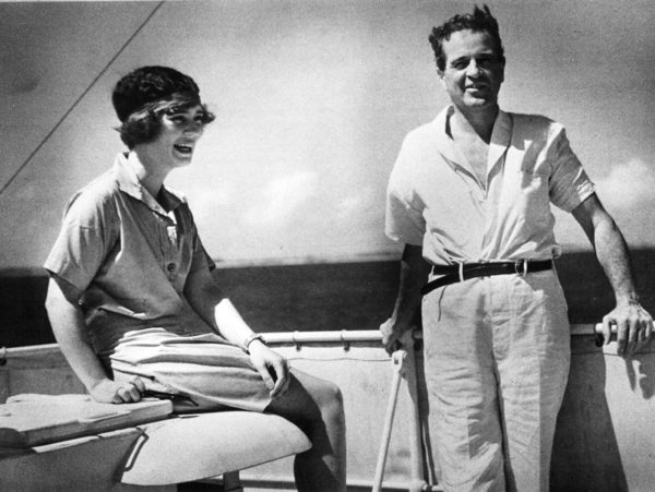 Consuelo and her father William Vanderbilt aboard the yacht Alva during its world cruise